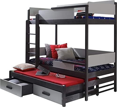 FurnitureByJDM - Triple stapelbed - QUATRO - Massief, natuurlijk grenenhout met matrassen en opberglades - (Grafiet / Grijs)