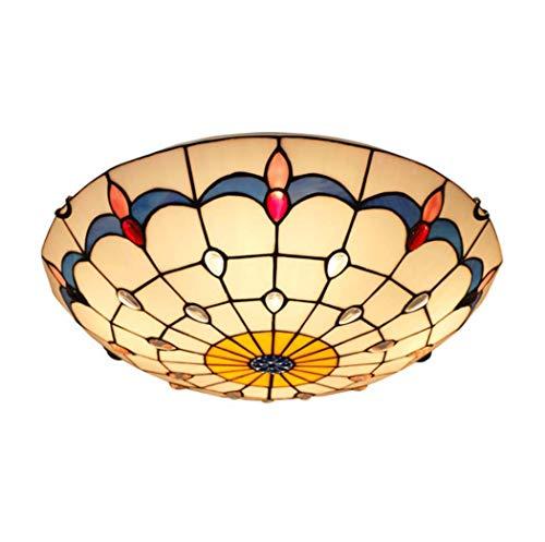 Lámpara de techo estilo retro Tiffany con montaje empotrado vintage de cristal manchado para dormitorio, estudio, escaleras, balcón, pasillo (tamaño: 50 cm)