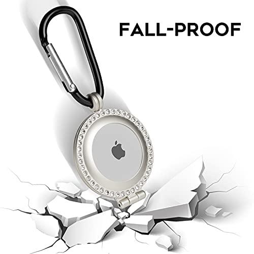 NEWZEROL Cover in Lega di Alluminio Compatibile per AirTag, Custodia con Diamante Scintillante con Portachiavi, Cover Protettiva Antiurto AntiGraffio per AirTag - Argento
