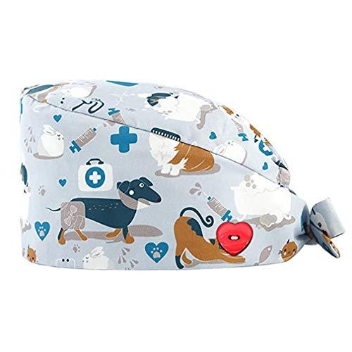 GEMVIE Gorros Quirofano Pelo Largo Robin Hat para Hombres y Mujers,Dibujos Animados, Flor,Peces, Corbata Ajustable,Algodón Gorro de Trabajo