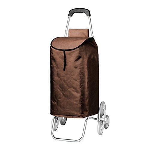Leichtes Aluminiumlegierungs-Treppensteigen, das faltenden Einkaufswagen-Laufrad 6 zusammenklappbare Ziehwagen Oxford-Tuch-große Kapazität 40L mit Taschen-Einkaufstasche Größe 33x22x50cm faltet