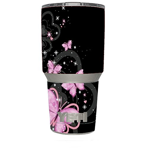 Skin Decal Vinyl Wrap for Yeti 30 oz Rambler Tumbler Stickers Skins Cover / Pink Majestic Butterflies Hearts