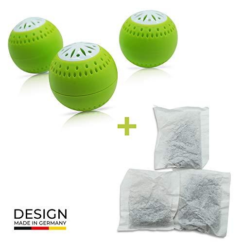 Preisvergleich Produktbild Natürlicher Geruchsneutralisierer 2-in-1 Funktion mit Aktivkohle - inkl. 3 Nachfüllpacks für eine extra lange Wirkungsdauer - Geruchsentferner ohne Chemie - klein,  kompakt und hervorragende Wirkung