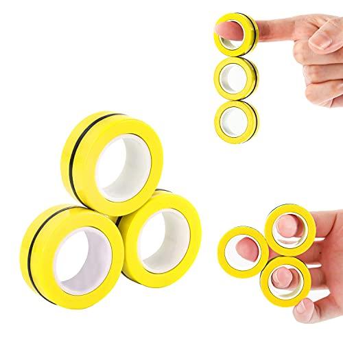 MILESTAR Fidget Magnets Ansiedad, Juguetes para aliviar el estrés, Anillos magnéticos Fidget Toy Set para niños y Adultos - 3 Piezas (Amarillo)