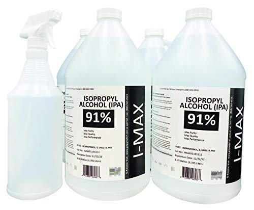 Isopropyl Alcohol - IPA 91% (4-1 Gallon) High Purity - Made in USA - Includes an Empty Trigger Spray Bottle