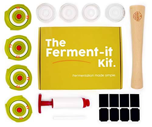Fermentation Kit - 4 lids, 4 glass weights, 1 Pump, 1 Vegetable Tamper, Sticker and Pen Set and a Mini recipe Booklet.