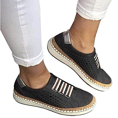 YUEBAOBEI Sandalias Planas Verano Mujer, Cómodo Ligero Casual Zapatillas para Caminar, Verano Playa Zapatos Antideslizantes Casuales,Negro,42