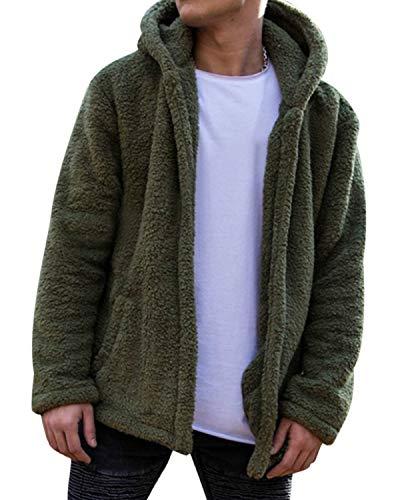 MODCHOK Herren Teddy-Fleece Jacke mit Taschen Warm Plüsch Mantel Hoodie Kapuzenpollover Sweatshirt Outwear 1-Grün M