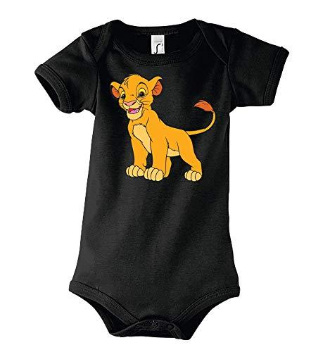 Youth Designz Baby Kurzarm Body Strampler Modell König Simba - Schwarz 6-12 Monate