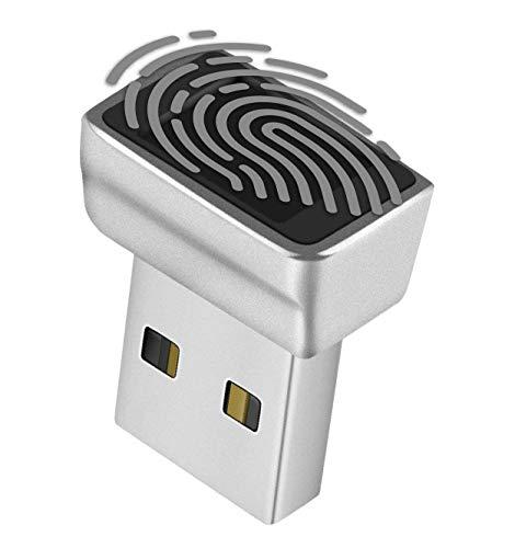 TNP Nano USB-fingeravtrycksläsare för Windows 10 Hello - säkerhetsnyckel biometrisk skannersensor dongle-modul för omedelbar åtkomst, lösenordsfri inloggning, lås, låsa upp PC och bärbara datorer