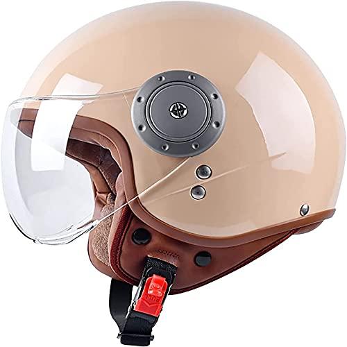 Cascos De Motocicleta Ligero Y Cómodo Casco Jet Vintage Cascos Abiertos De Moto Tamaño Ajustable Half-Face Helmets, para Motocicleta Scooter Bicicleta-ECE Homologado C,54-61CM