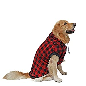 PAWZ Road Large Dog Plaid Shirt Coat Hoodie Pet Winter Clothes Warm and Soft Red 3XL