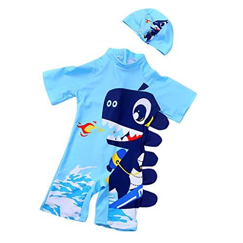 Fenverk Baby- / Kleinkinder-Badebekleidung 2er Set,Junge EIN stück Kurzärmel-Kleidung Badeanzug,Kinder Jungen Bademode Einteiler Schützend Schwimmanzug mit Sonnenhut(A Hellblau,3-4 Jahre)