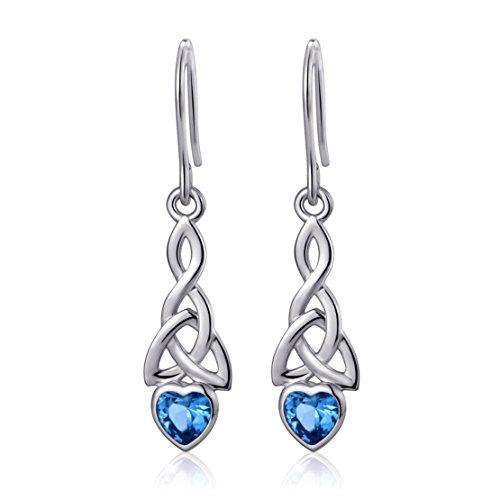 Sterling Silver Good Luck Irish Celtic Knot Blue Heart Drop Dangle Earrings