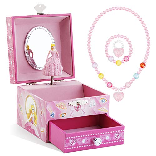 Kids Musical Jewelry Box for Girls with Drawer and Jewelry Set with Cute Princess Theme - Beautiful Dreamer Tune Pink