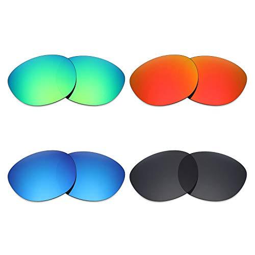 Mryok 4 paia di lenti polarizzate di ricambio per Oakley Latch Sunglass - Stealth nero/rosso fuoco/blu scuro/verde smeraldo