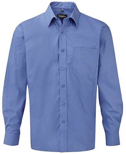 Russell Collection - Chemisier à manches longues en popeline pour femme - 100 % coton - Facile à entretenir - bleu - XXX-Large