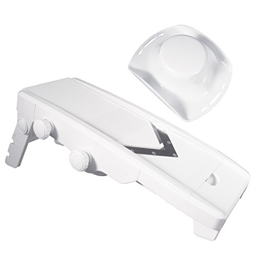 Weston Plastic V-Slice Mandoline Slicer with Sturdy Foldable Base and Blade Storage Box
