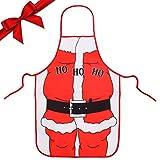 BELLE VOUS Delantal Cocina de Navidad - 70 x 49 cm Diseño de Papá Noel Novedoso Delantales Divertidos para Hombres, Mujeres y Niños - Delantales Graciosos Cena Fiestas Decoración de Navidad y Regalos