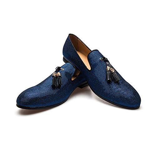 Men's Vintage Velvet Metal Loafers Shoes Slip-on Loafer Smoking Slipper (10.5 D (M) us, Blue)