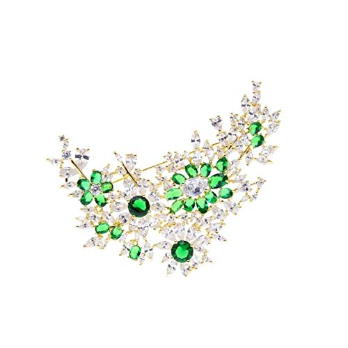 RHGEIUCY Rangeiucie Messing Einlagerung Zirkon Luxus Tragen Sie Keine Nadelpullover Persönlichkeit Mode Einfachheit Damenbrosche (Color : Green)