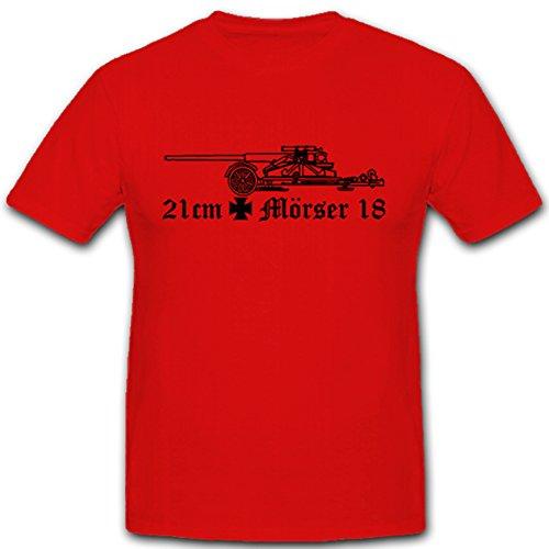 21cm Mörser 18 Waffe Kanone Artillerie Heer EK WK 2 - T Shirt #5349, Farbe:Rot, Größe:Herren XL