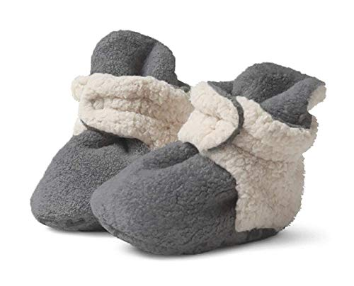 Zutano Cozie Fleece Baby Booties with Faux-Fur Lining, Unisex, for Newborns, Infants, and Toddlers, Gray Furry, 6M