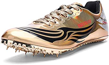 Ifrich Men's Women's Track & Field Shoes Spikes Running Training Sneakers Lightweight Jumping Athletics Track Shoes with Spikes for Youth, Kids, Boys and Girls Gold
