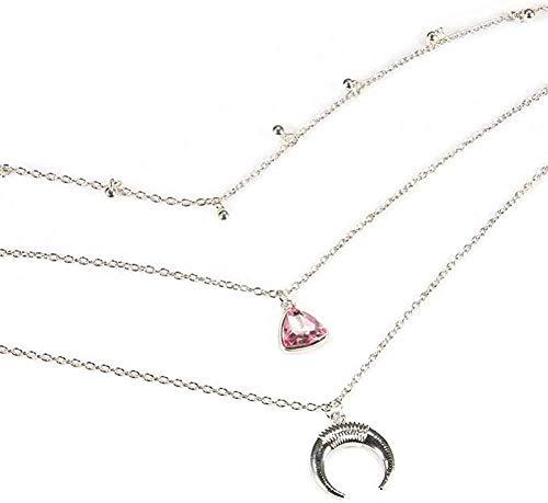 Collar, collar para mujeres, hombres, mujeres, colgante, collar, elegante, encanto, mujeres, spink, cristal, luna, perla, colgante, plata, multicapa, cadena de clavícula, bohemio, retro, playa, collar