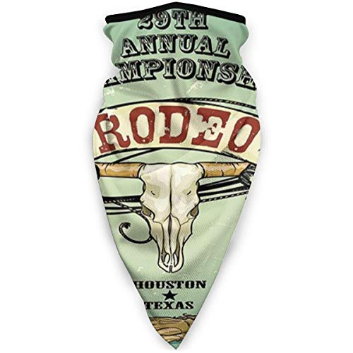 Face Scarf Retro Style Rodeo Championship Poster Bull Skull Large Horns with Banner Grungy Warmer Scarf
