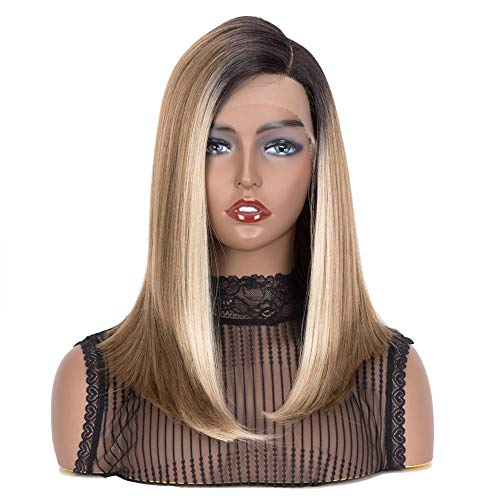 """QVR Straight Blunt Bob Lace Front Wigs for Women,16"""" Shoulder Length Angled Bob Wigs with Side Part, Heat Resistant Wigs Synthetic Fiber Ombre Balayage Blonde Highlighted"""