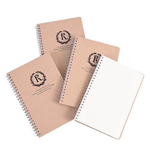 BaoWnylz 4Pack Spirale Cahier de Dessin a5, Carnet Spirale, Couverture Papier Kraft, Carnet Page Blanc, 160g Papier Cartouches D'encre Recyclé, 100 Pages (50 Feuilles)