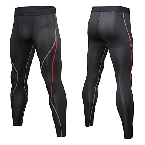 iLOOSKR Men High Elasticity Training Bodybuilding Workout Fitness Long Pants Tight-Drying Sports Pants