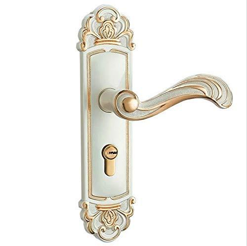 LKAIBIN Aluminiumlegierung, europäisches Gold- und Silber-Türschloss für Innentür, Zimmertür, Massivholz, Türschloss, Retro, Antik
