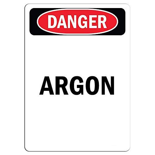 Gefahrenschild – Argon Aufkleber Warnaufkleber, Schild Hausdeko, Fenster, Auto, Gefahrenschild, Sicherheitshinweise verschließbar, 20,3 x 30,5 cm
