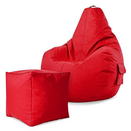 Green Bean Gaming © 2 in 1 Set - Cozy Sitzsack mit 2 Seitentaschen + Cube Hocker - fertig befüllt - robust, waschbar, schmutzabweisend, wasserfest - für Kinder und Erwachsene - Rot