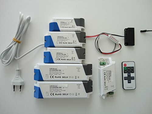 LED Trafo-Transformator 6-50 Watt DC, 12Volt, Funk-Fernbedienung mit Dimmfunktion, 6fach Mini LED Verteiler (15 Watt)
