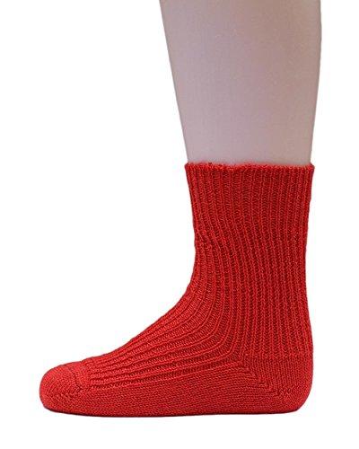 Hirsch Natur, Grobstrick Socken Baby und Kinder, 100% Wolle (kbT) (23-24, Rot)