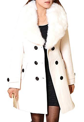 Saoye Fashion Abrigo De Invierno Para Mujer Abrigo De Lana Con Cuello Ropa de Fiesta De Piel Sintética Parka Chaqueta De Otoño Elegante Gabardina De Doble Botonadura Abrigo Largo Chaqueta De Transició