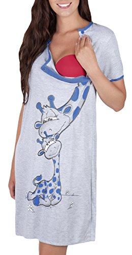 Mija - Camicia da notte 2 in 1 cotone Premaman/Allattamento/allattamento al seno 2050 (IT 44, Blu marino)