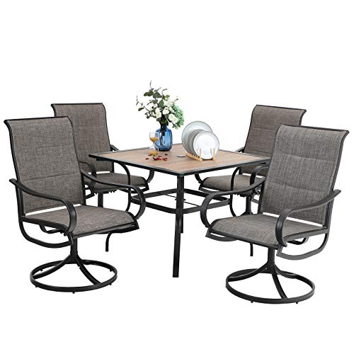 PHI VILLA 5 PCS Patio Dining Set, Outdoor Dining Table & Chair Set, 4 Swivel Chairs Padded Sling Fabric and 37'x 37' Table with Umbrella Hole, Metal Frame, for Kitchen Deck Garden Lawn