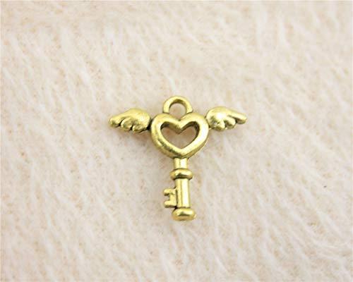 WYSIWYG 100 Piezas Encanto Colgantes para Pulseras Llave del Corazón del ala 15x14mm Pendientes componentes para joyería Mujer.
