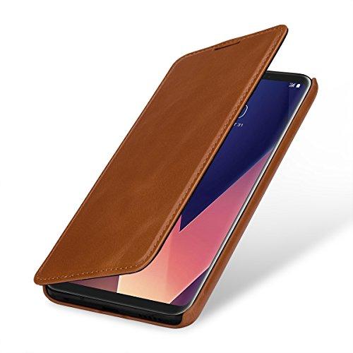 StilGut UltraSlim 本革 カバー LG V30+ (L-01K, LGV35) 薄型 縦開き マグネット無し レザーケース ブラック