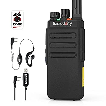 Radioddity GD-77S DMR Dual Band Two Way Radio Digital/Analog Long Range Handheld Walkie Talkie 1024CH Voice Prompt Commercial Use with Programming Cable Original Earpiece and 2 Antennas