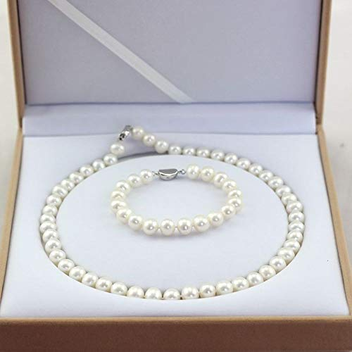 Lxj Collana di Perle Collana di Perle d'Acqua Dolce Set Collana di Gioielli Bracciale Set di Due Pezzi Invia Mamma 9-10mm