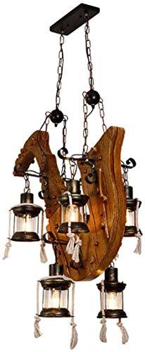 XCY Retro Colgante Industrial Luz de Madera Iza Lámparas de Techo de la Lámpara de Madera Cherosene Colgante Lámpara Accesorios 6 Head Edison E27 Fijo de Hierro para la Cocina Café Bar Restaurante De