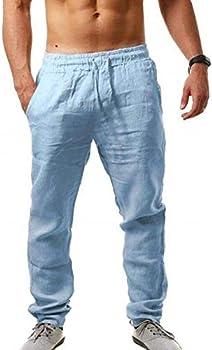 2-Pack Men's Loose Lightweight Linen Drawstring Pants