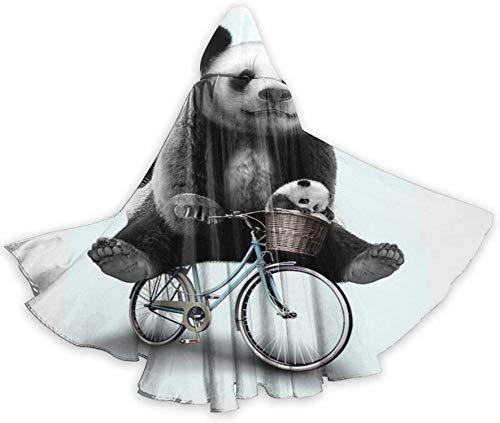 Mantello del Mantello per Adulti Panda Carino in Sella alla Bici Viaggio a Figura Intera Mantello con Cappuccio di Halloween Costumi di Fantasia del Capo di Natale per Le Donne Uomini