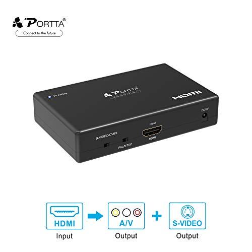 Portta HDMI to コンポジット/S端子 変換器 デジタル アナログ 変換 hdmi入力を3RCA/S-Video出力へ変換 1080P hdmi rca 変換 hdmiコンバータ アナログ変換器 hdmi コンポジット変換 S-Video変換