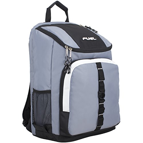 Fuel Top Load Sport Backpack with Side Tech Compartment and Ergonomic Padded Mesh Breathable Back, Steel